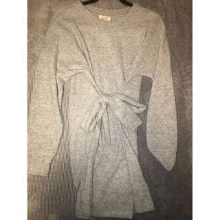 Grey Tie-Up Dress
