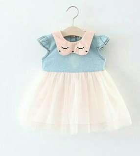 Denim.lace dress (6m-4y)