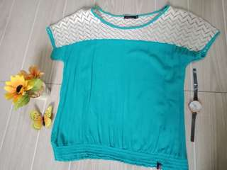 Aquamarine blouse with embroidery