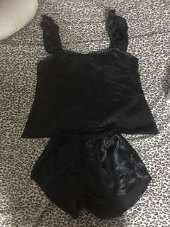 Terno Black Silk Sleepwear