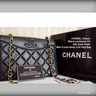 💯CHANEL Full set Black Lambskin 24k Gold Chain Mini Cross Body Full Flap Bag