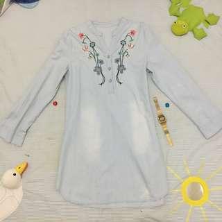 Denim Embroided Dress