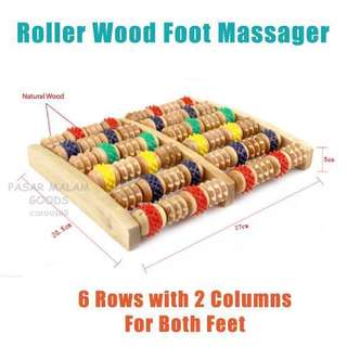 Instock BN Wooden Foot Massager with Roller Wheels Relax Massage Stress Relief Wood