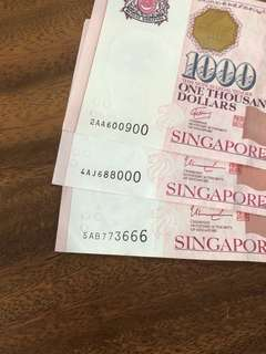 $1000 note with nice serial number