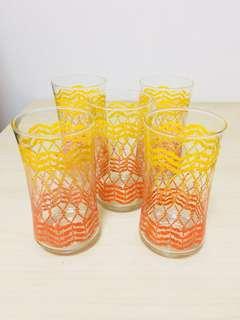 🚚 清倉大拍賣!台灣早期普普風水杯玻璃杯五個一組