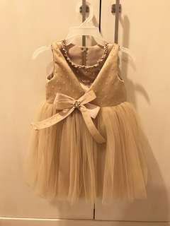 Dress Tutu Gold with Bow and Pearl