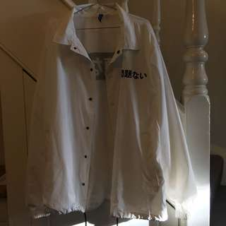 H&M White Jacket with Japanese Text