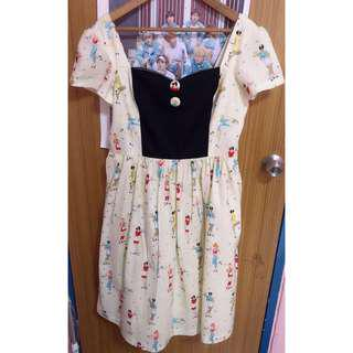 50s-style vintage retro lolita cosplay printed dress with full skirt