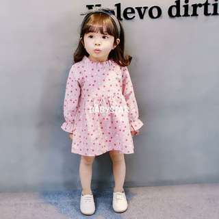 Stand collar color flower dress Color: Pink