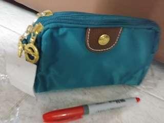 3 zipper green bag