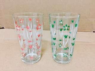 🚚 清倉大拍賣!台灣早期文青風水杯玻璃杯兩個一組