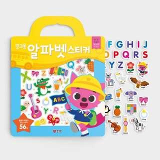 🚚 Pink Fong Reusable sticker book Alphabets, Numbers, Marine Life Baby shark