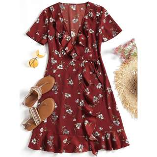 Red floral midi wrap dress with ruffles detailing