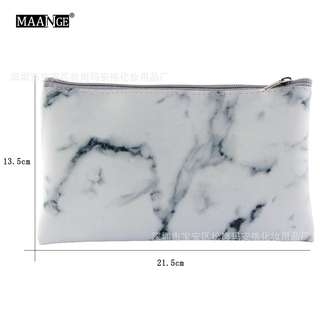 (PO) marble make-up pouch