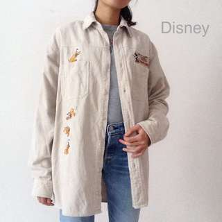 Disney Corduroy Shirt Jacket Outerwear Beige