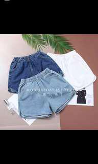 Light Denim Elastic Waist Shorts
