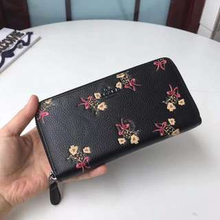 Coach Accordion Zip Wallet with Floral Bow Print *Authentic Quality