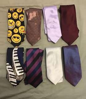 Set of ties with tie rack