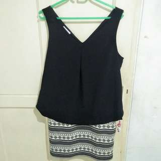 black dress tribal motif