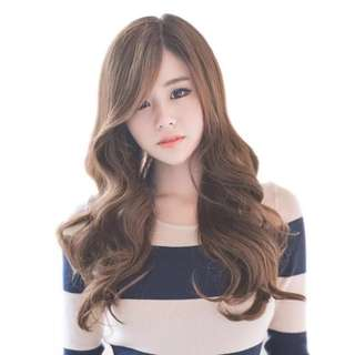 Premium wigs Korean ulzzang side parting with fluffy marshmallow curls