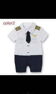 Infant Baby Romper Body Suit White Navy