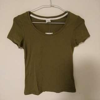 圓領簡約百搭彈性素面短袖上衣 素t 軍綠