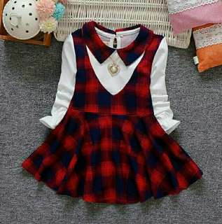 (1-5y) long sleeves plaid dress