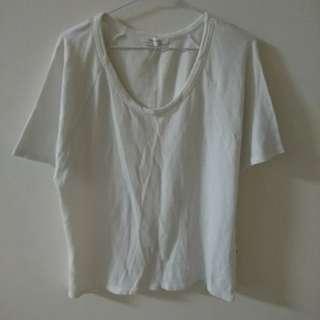Zara 圓領側小開衩質感素面五分袖上衣 素t