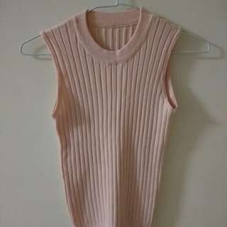 立領百搭坑條無袖針織背心上衣 粉色