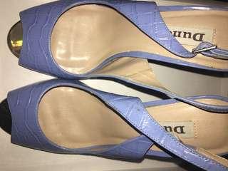 Dune Light Blue Leather Sandals