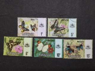 Malaysia 1971 Melaka Butterflies Definitive Loose Set - 5v MH & Used Stamps