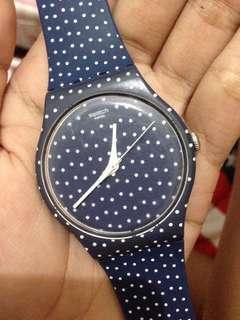 Jam Tangan Swatch Blue Polkadot