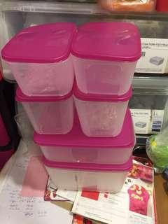 Tupperware Freezermate pink set (6)