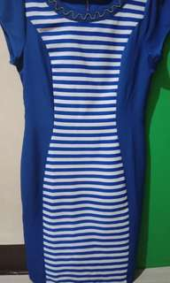 Royal Blue Sexy short sleeves Striped Dress