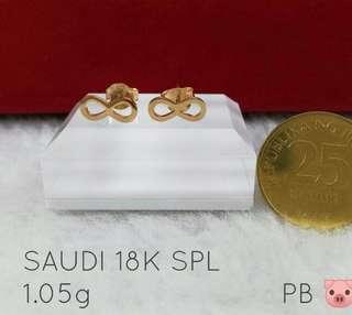 18k saudi gold infinity earring design