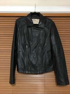 Genuine Leather Jacket - Black, Size 12