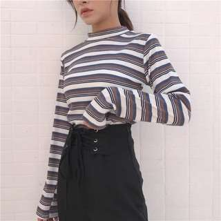 Stripes Turtle Neck Long Sleeve Top