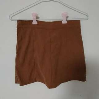高腰側拉鏈麂皮絨質感短裙 褲裙 內有安全褲