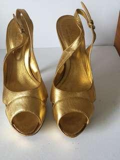 Authentic Sergio Rossi gold platform heels