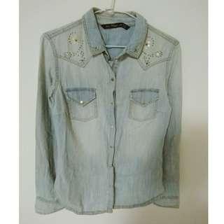 Zara 金屬壓釦百搭淺藍丹寧牛仔襯衫 牛仔外套