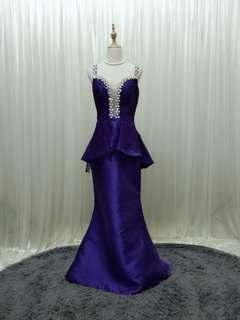 PURPLE mermaid evening gown wedding dinner dress peplum