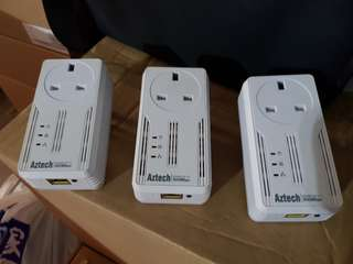 3 x Aztech Homeplug Av 500Mpbs
