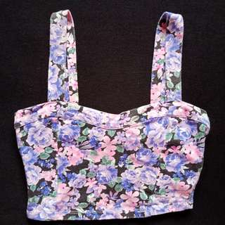 FOREVER 21 Floral Print Bustier Washed Out Fabric Crop Top