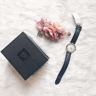 Anne Klein Navy Blue Leather Watch