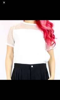 Caged Mesh Top (White)