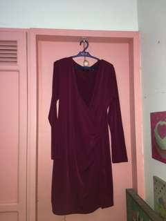 Magenta Long Sleeves Dress