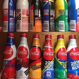 世界杯 日本版 可口可樂 紀念版 鋁樽 1998-2018年 一套六枝