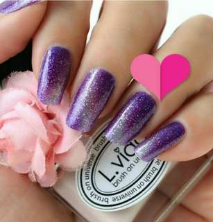 Purple Gradient Chic Nail Stickers Wrap Foil With Glittery
