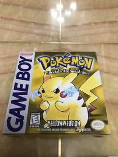 Game Boy Pokemon Yellow version cartridge with box and manual for Gameboy