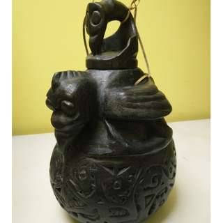 Borneo tribe wood-carved water jug